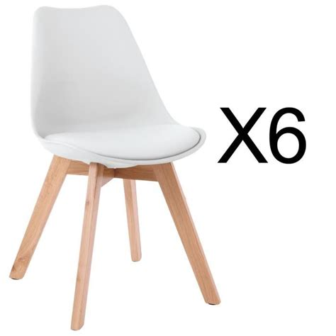 chaises scandinave lot de 6 chaises style scandinave catherina blanc achat