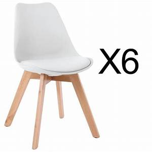 Lot de 6 chaises style scandinave Catherina Blanc Achat / Vente chaise Blanc Cdiscount