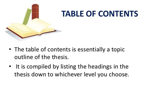 table of contents definition the thesis and its parts