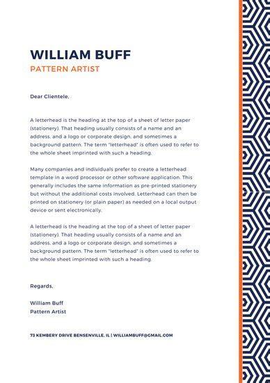 navy blue geometric pattern personal letterhead