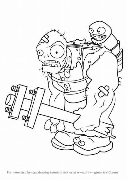 Zombies Plants Draw Gargantuar Zombie Drawing Step