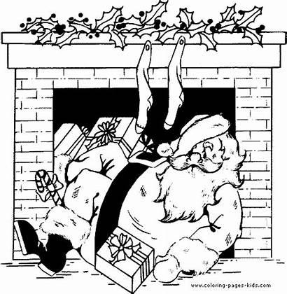 Coloring Pages Christmas Holiday Printable Fireplace Santa