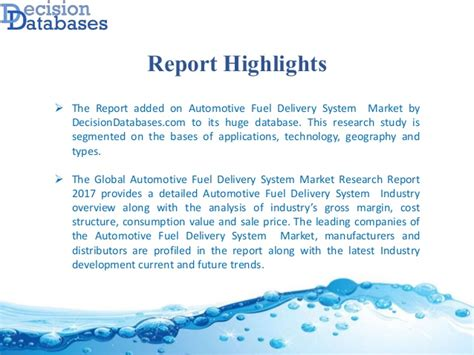Automotive Fuel Delivery System Industry 2017