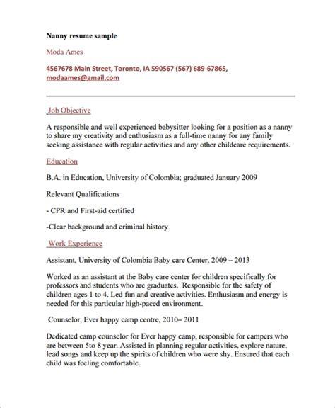 Professional Nanny Resume by 7 Nanny Resume Templates Sle Templates