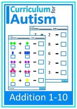 addition   visual worksheets autism  curriculum