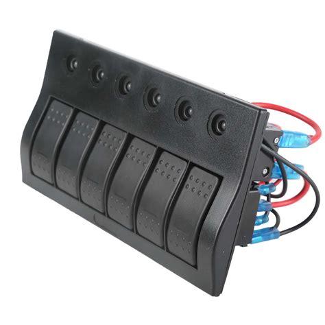 Boat Switch Panel With Breakers by 6 Green Led Marine Boat Waterproof Rocker Switch
