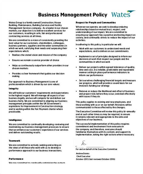 company policy template business policy template 9 free pdf documents free premium templates