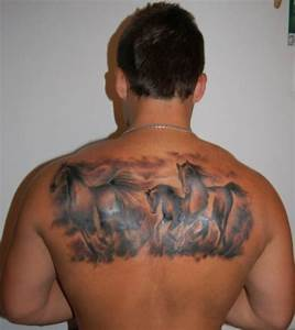 Running wild horses tattoo on back for men - Tattooimages.biz