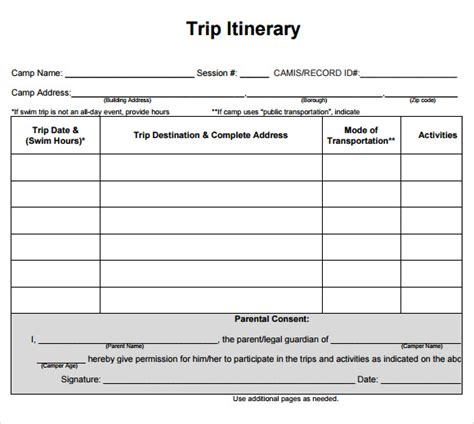 13 Free Itinerary Templates Sle Exle Format Unique Of Blank Travel Itinerary Template 5 Excel