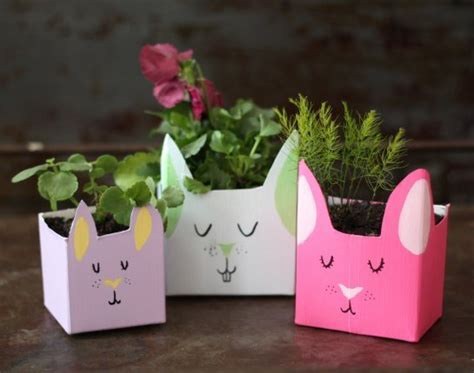 recycled milk carton easter bunny planters recycled crafts