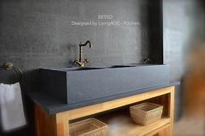 Evier Cuisine En Pierre : vier en pierre pour cuisine 2 cuves gouttoir 120x60 ~ Premium-room.com Idées de Décoration