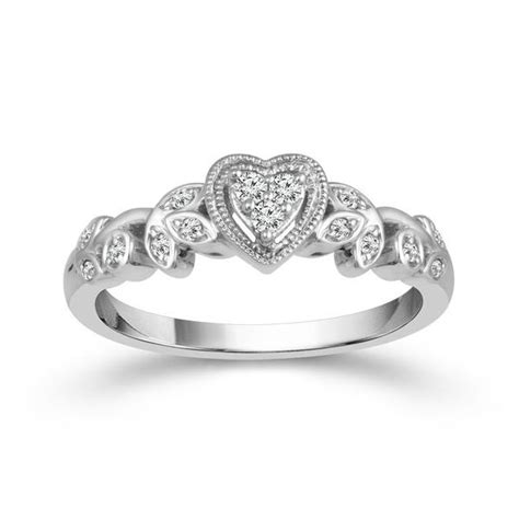 10k white gold heart shaped cluster promise ring with floral design mullen jewelers