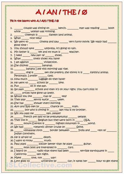 grammar worksheets for grade 4 articles