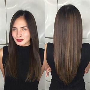long+straight+dark+brown+hair+with+subtle+balayage | Hair ...