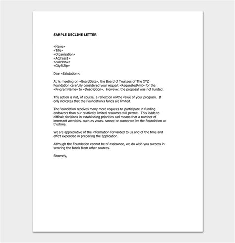 grant rejection letter samples examples formats