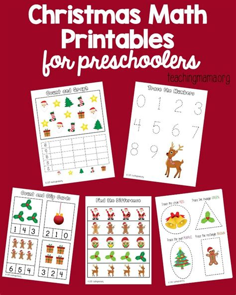 math printables for preschoolers 140   Christmas Math Printables pin1