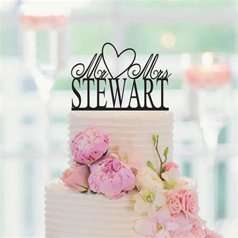 Love Heart Personalized Acrylic Wedding Cake Topper