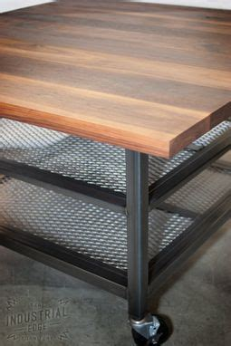 Hand Crafted Custom Walnut & Steel Kitchen Island, Metal
