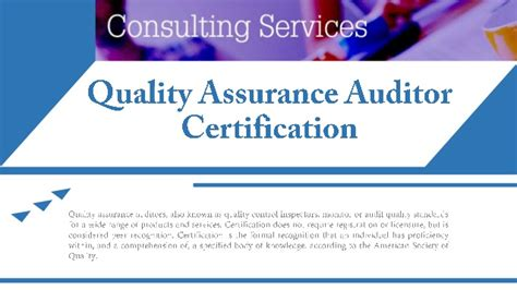 Quality Asurance Auditor Certification
