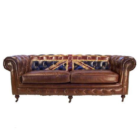 canap 233 3 places chesterfield cuir marron vintage drapeau union