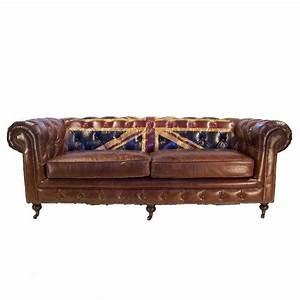 canape 3 places chesterfield cuir marron vintage drapeau With tapis de marche avec canapé cuir marron chesterfield