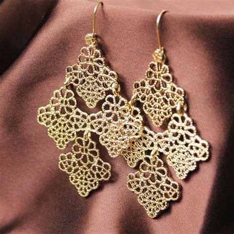 gold lace earrings