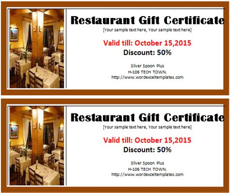 restaurant gift certificate template search results for gift certificate template calendar 2015
