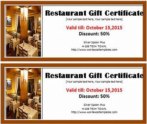 restaurant gift certificate template word excel templates With free restaurant gift certificate template