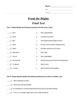 Freak The Mighty Final Test By Julie Ramsey  Teachers Pay