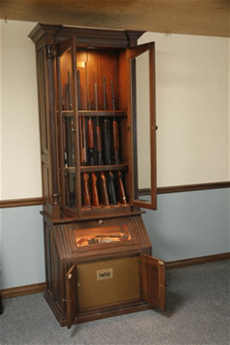 The Woodloft  Custom Gun Cabinet With Lighted Pistol Display