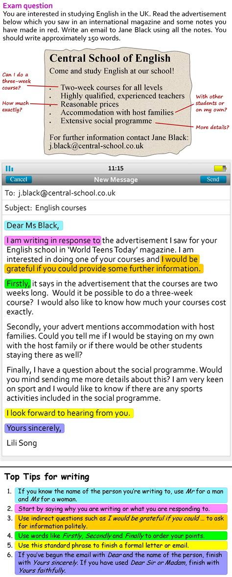 formal email learnenglish teens british council