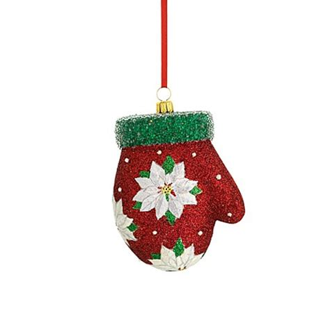 reed barton 174 glass blown christmas mitten ornament bed