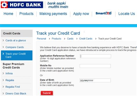 Alternatively, you can choose to enter your primary phone number, zip code, and date. Check HDFC Credit Card Status Online   Track Application Status