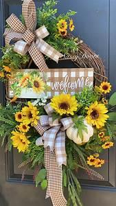 Fall, Sunflower, Wreath, Fall, Wreath, Sunflower, Front, Door, Wreath