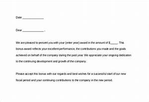 13 award letter templates pdf doc free premium With performance bonus template