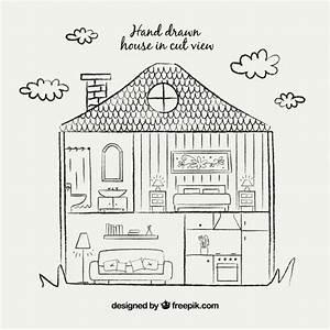 Möbel Zeichnen Programm Kostenlos : hand zeichnen haus in schnittansicht download der kostenlosen vektor ~ Markanthonyermac.com Haus und Dekorationen