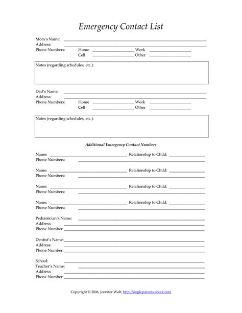 Emergency Contact Form Single Parent Families
