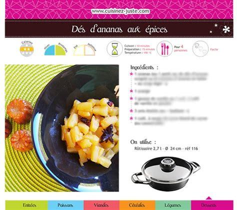 recette de cuisine pdf fiche recette dessert dés d 39 ananas aux épices cuisine