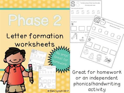 phase  phonics letter formation worksheets