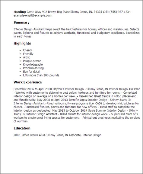 interior design description description of an interior designer assistant