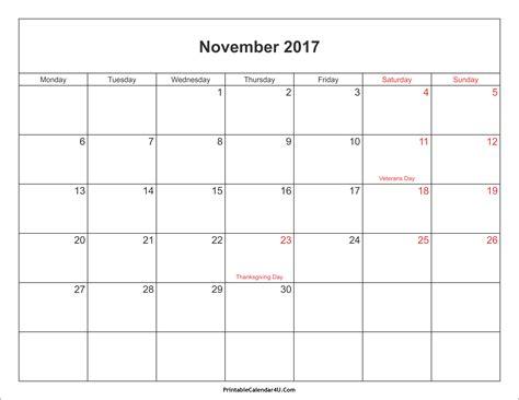 2017 calendar template pdf november 2017 calendar pdf weekly calendar template