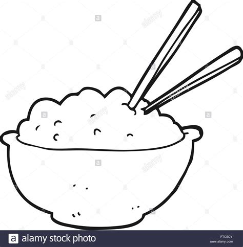 Coloring Rice by Freehand Black And White Bowl Of Rice Stock