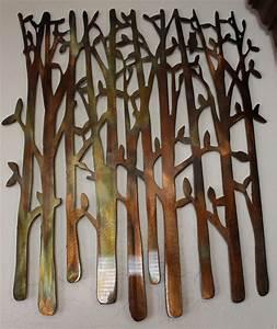 Birch Tree, Birch Tree Metal Art, Bamboo, Bird in the