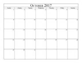 Blank October Calendar 2017 Printable