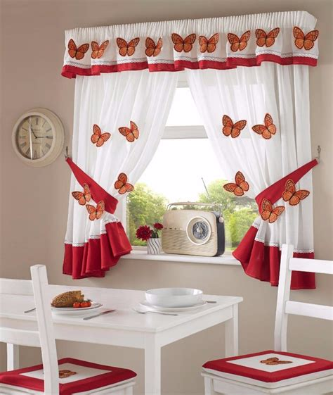 One Pair Of 3d Red Butterfly Design Kitchen Curtains  Inc