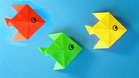 basteln papier origami fisch basteln mit papier basteln mit kindern einfache bastelideen
