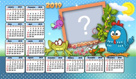 Calendário 2019 da Galinha Pintadinha Faça com uma foto