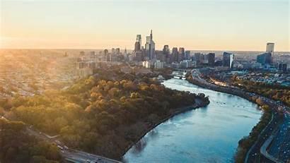 Philadelphia Skyline Sun Elevated Angles Philly Sunrise