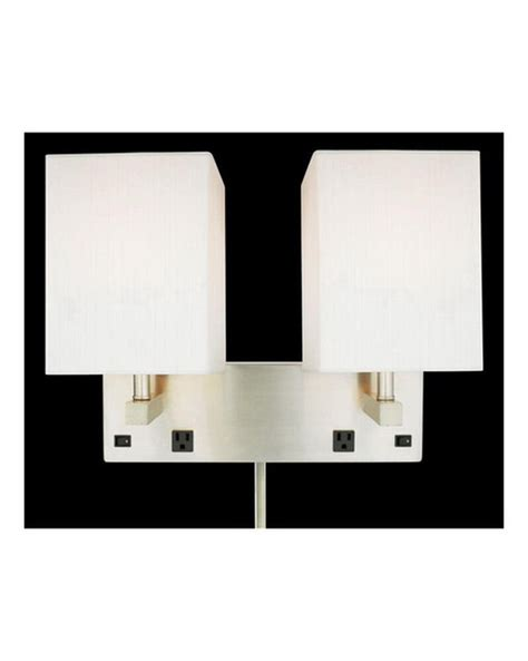 brushed nickel plug in 2 light wall sconce with 2 outlets and off switch ebay