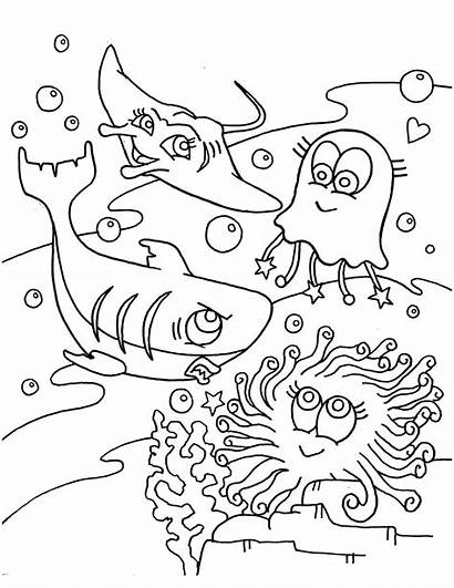 Ocean Coloring Pages Sea Animals Under Scene